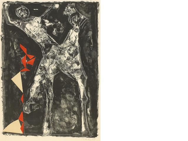 Marino Marini (Italian, 1901-1980); Cavalier sur fond noir etoile;