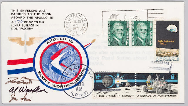 POSTAL COVER CARRIED TO LUNAR SURFACE.