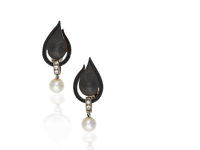 A pair of blackened steel, diamond and cultured pearl earclips, Marsh & Co.