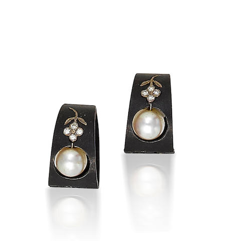 A pair of blackened steel, cultured pearl and diamond earclips, Marsh & Co.