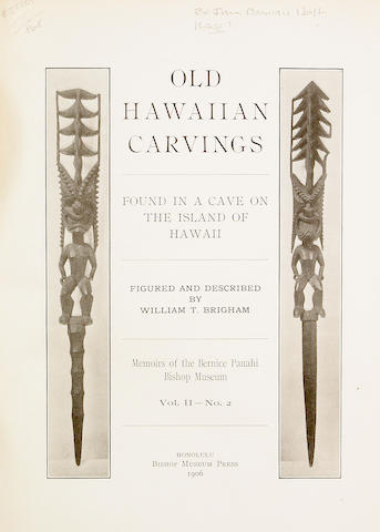 Memoires of the Bernice Pauahi Bishop Museum, Vol. II - No. 2 Old Hawaiian Carvings Bishop Museum Press, Honolulu, 1906
