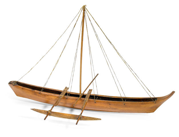 Polynesian, possibly Samoan, Model of an Outrigger Canoe