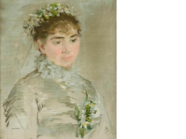 Eva Gonzalès (French, 1849-1883) Portrait de la mariée 18 1/8 x 14 15/16in (46 x 38cm)