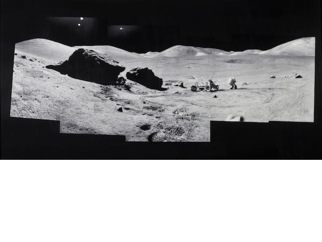 Michael Light (American, born 1963); Full Moon: Composite of Eugene Cernan and the Lunar Rover at Split Rock, photographed by Harrison Schmitt, Apollo 12, December 7-19, 1972;