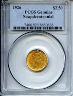 1926 $2.5 Genuine Sesquicentennial PCGS