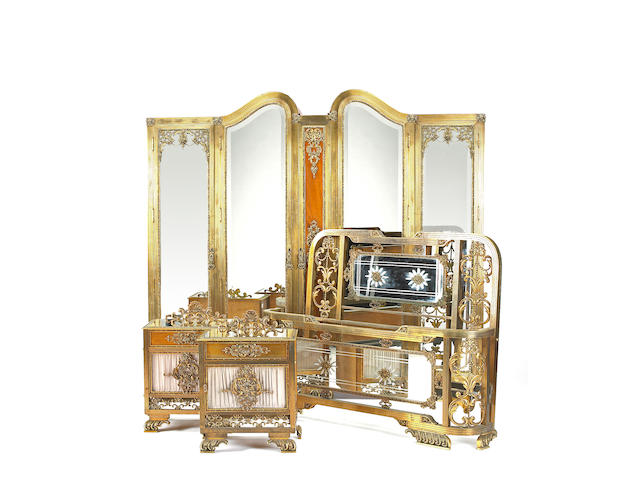 A Louis XVI style brass mounted mahogany bedroom suite<br>first quarter 20th century
