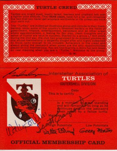 TURTLE CLUB MEMBERSHIP CARD—SIGNED.