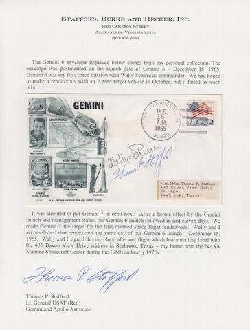 STAFFORD'S GEMINI 6 LAUNCH COVER—CREW SIGNED.