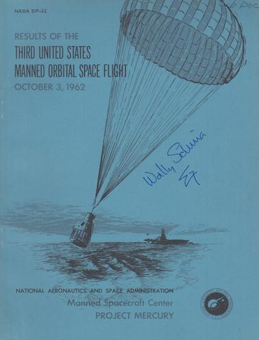 SCHIRRA SIGNED ORBITAL FLIGHT REPORT.