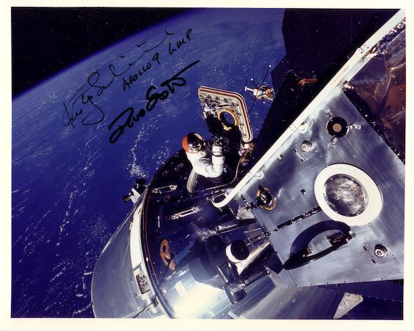 SCHWEICKART PHOTOGRAPHS SCOTT ABOVE THE EARTH—SIGNED.