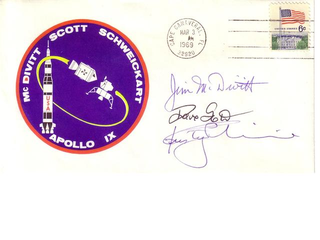 APOLLO 9 POSTAL COVER—SIGNED.