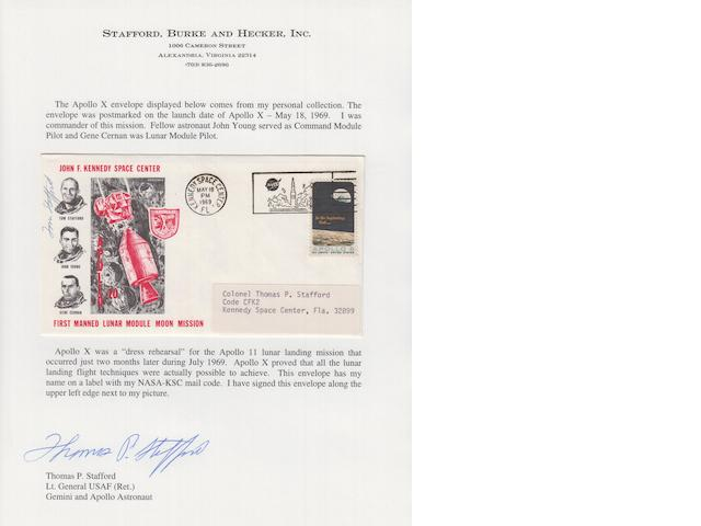 STAFFORD'S APOLLO 10 POSTAL COVER—SIGNED.