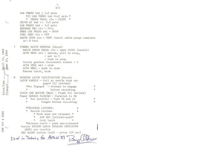 CREW-USED APOLLO 11 LAUNCH CHECKLIST TRAINING SHEET—DOCKING WITH EAGLE.