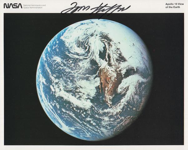 STAFFORD'S APOLLO 10 EARTH VIEW—SIGNED.