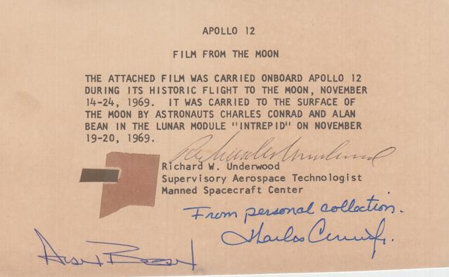CONRAD'S APOLLO 12 70MM FILM SEGMENT.