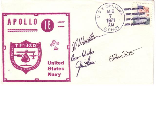 APOLLO 15 RECOVERY POSTAL COVER—SIGNED.