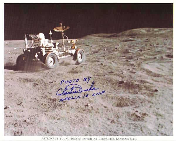 "LUNAR ROVER ""GRAND PRIX"" ON THE MOON—SIGNED."