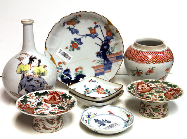 A group of eight Japanese porcelain containers 19th Century and Later