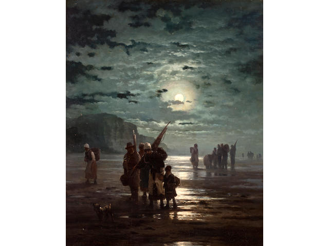 Edward Moran (British/American, 1829-1901) Fisherfolk at dawn