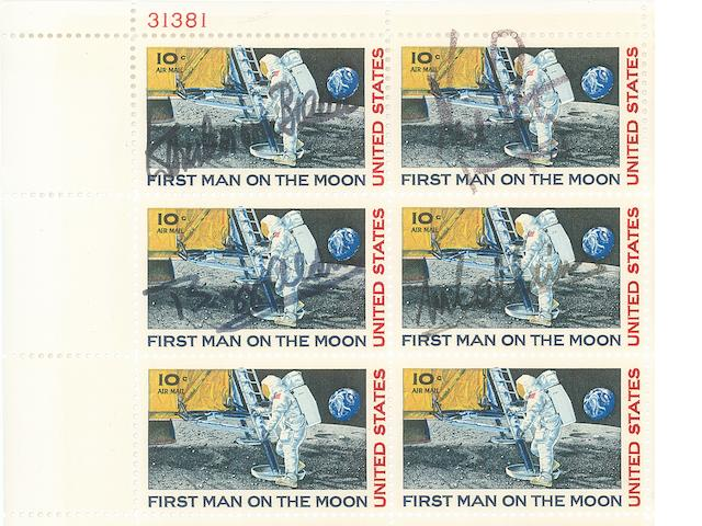 MAN ON THE MOON SIGNED STAMP SHEET.