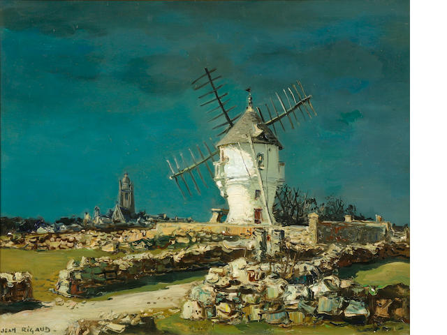 Jean Rigaud, Le Moulin a Borg de Batz, oil on canvas, 24 x 29in, framed