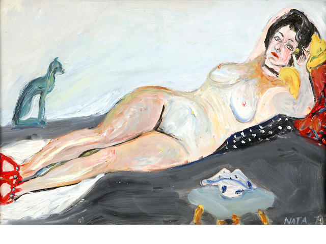 Natta Konysheva (Russian, born 1935) Reclining nude 14 1/8 x 20in