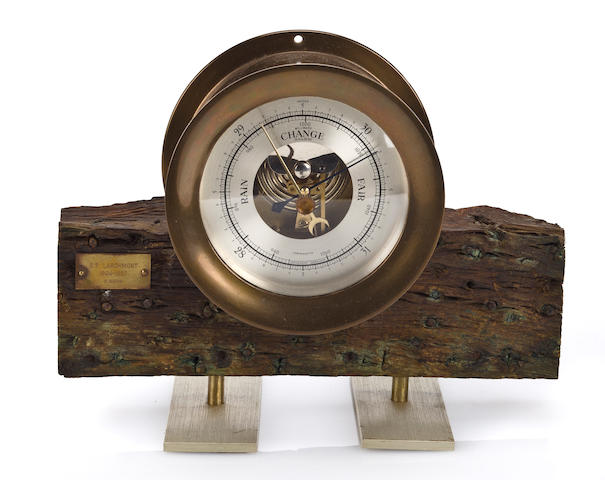 A barometer with relic wood from the S.S. Larchmont
