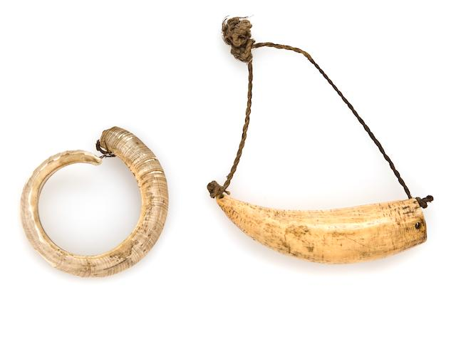 Fiji Islands Marine Ivory Tambua and Boar's Tusk and Fiber Bracelet, Republic of the Fiji Islands