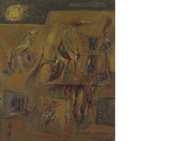 Hans Gustav Burkhardt (American, 1904-1994) Untitled (Yellow Sun), 1954 31 1/2 x 26in