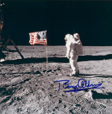 ALDRIN SALUTES OLD GLORY.