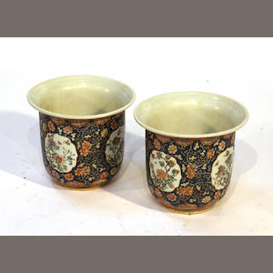A pair of Chinese contemporary polychrome enameled porcelain planters