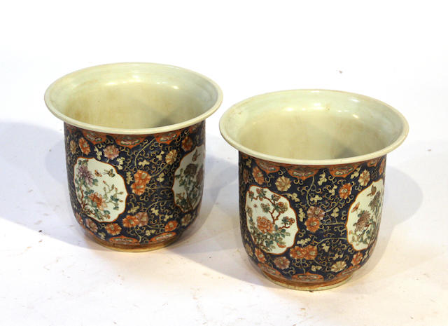A pair of Chinese polychrome enameled porcelain planters