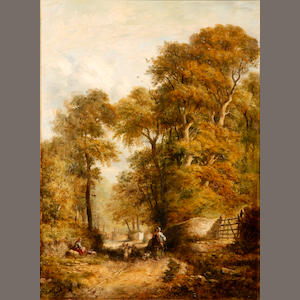 English School A rustic landscape with a shepherd and his flock 28 x 20in