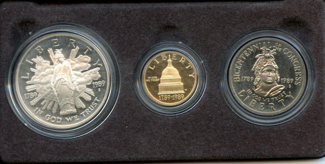 1989 U.S. Congressional Three Coin Proof Set