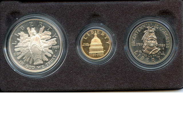 1989 US Congressional 3 Coin Proof Set in Gold and Silver