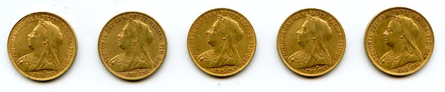 England, Victoria, Sovereigns (5)