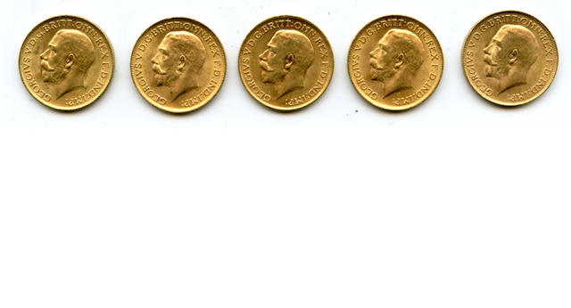 England, George V, Sovereigns (5)