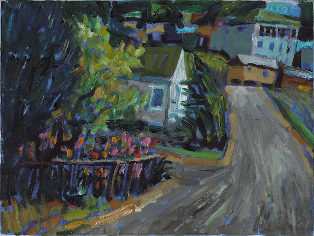 Lundy Siegriest (American, 1925-1985) Houses and Gardens Along a Winding Street 12 x 16in