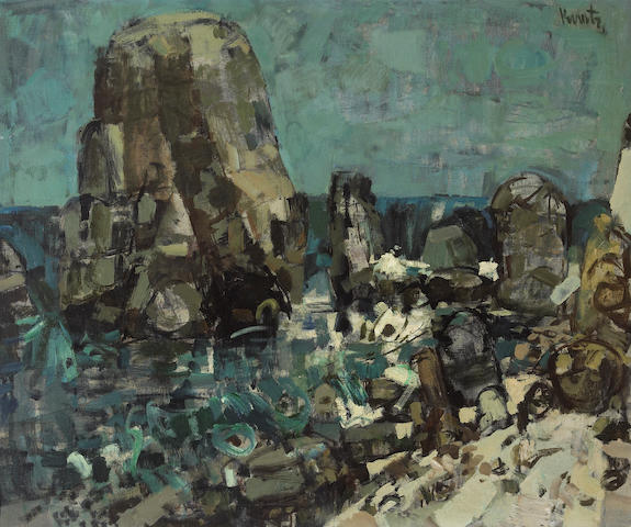 Roger Edward Kuntz (American, 1926-1975) Shell Beach #3 30 x 36in