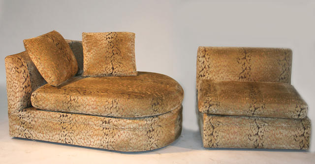 A suite of contemporary upholstered seating furniture