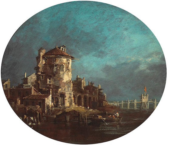 Venetian School, circa 1765 A round tower and other buildings near a fortified bridge oval 20 3/8 x 24in (50.8 x 61cm)