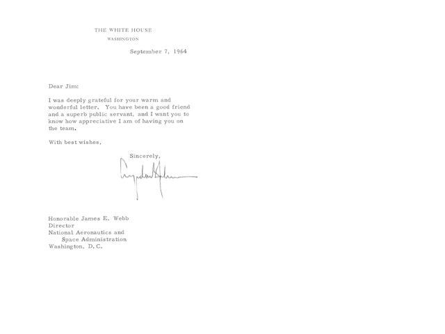 PRESIDENT JOHNSON'S LETTERS TO JAMES WEBB.