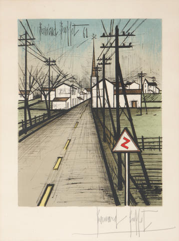 Bernard Buffet La Route Lithograph in colors framed