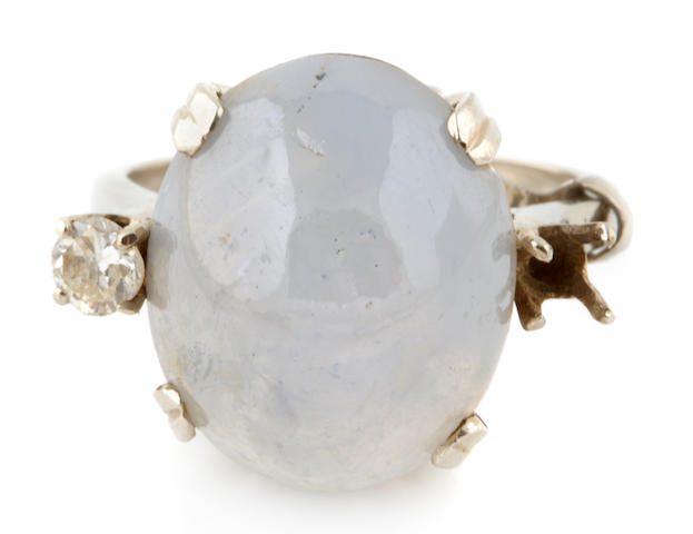A star sapphire, diamond and 14k white gold ring