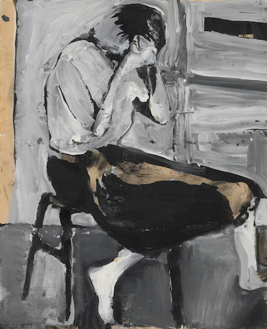 Richard Diebenkorn (American, 1922-1993) Untitled (Woman Seated on a Stool), 1957 17 x 13 3/4in