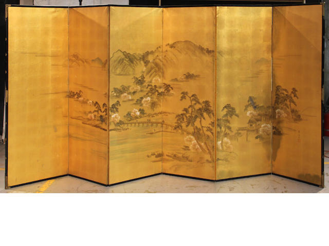 Unidentified Japanese artist  A pair of large six-panel landscape screens