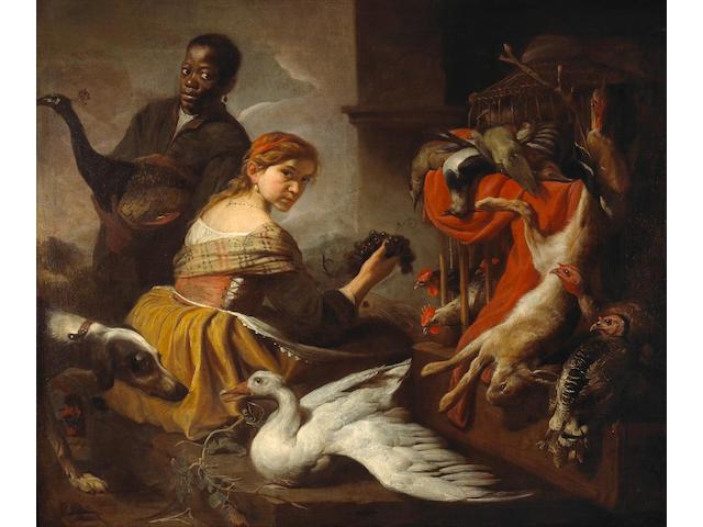 Antonio Maria Vassallo (Italian, 1620-circa 1664) A still life with game and figures 57 1/2 x 68in (146 x 172.7cm)