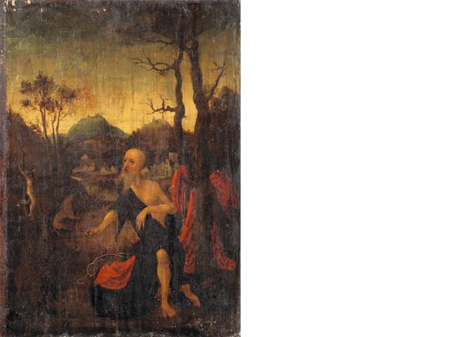 Flemish School, late 16th Century The penitent Saint Jerome 19 x 13 3/4in (48.3 x 34.9cm) unframed