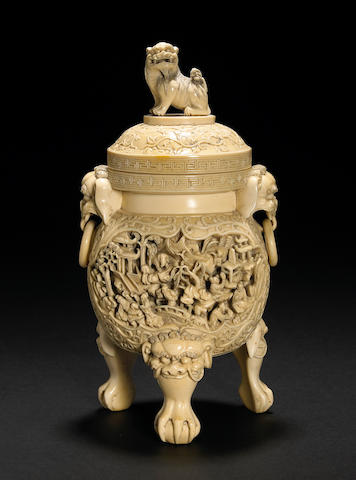 A carved ivory censer and cover, 19th century