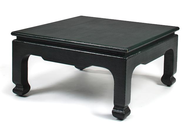 A green lacquered Asian style square coffee table